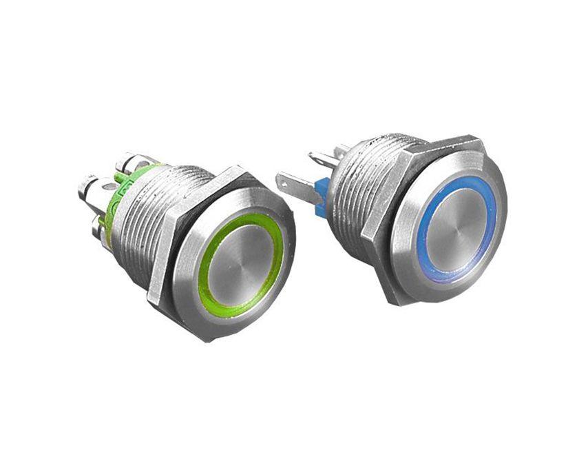 Drucktaster oder Schalter Edelstahl 19mm beleuchtet LED Deutschland Shipping NEU